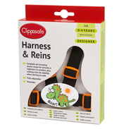 Clippasafe Designer Harness & Reins in Dinosaur Design